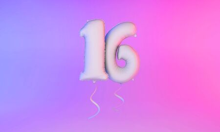 White number 16 celebration balloon greeting background. 3D Rendering Фото со стока - 131949226
