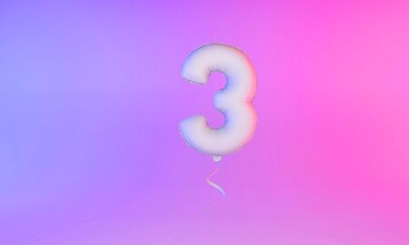 White number 3 celebration balloon greeting background. 3D Rendering Фото со стока - 131949235