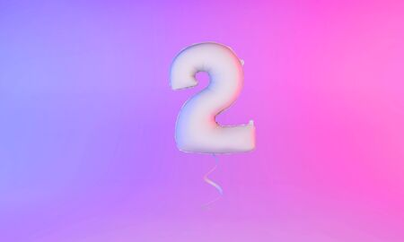 White number 2 celebration balloon greeting background. 3D Rendering Фото со стока - 131949279
