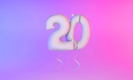 White number 20 celebration balloon greeting background. 3D Rendering Фото со стока - 131949284