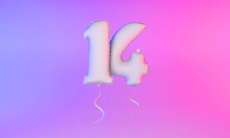 White number 14 celebration balloon greeting background. 3D Rendering Фото со стока - 131949288