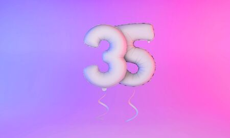 White number 35 celebration balloon greeting background. 3D Rendering