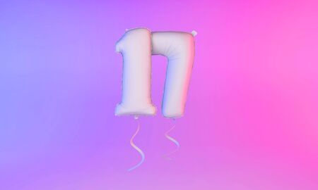 White number 17 celebration balloon greeting background. 3D Rendering