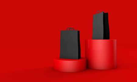 Black paper shopping bag on a red background. Black friday sale event. 3D render