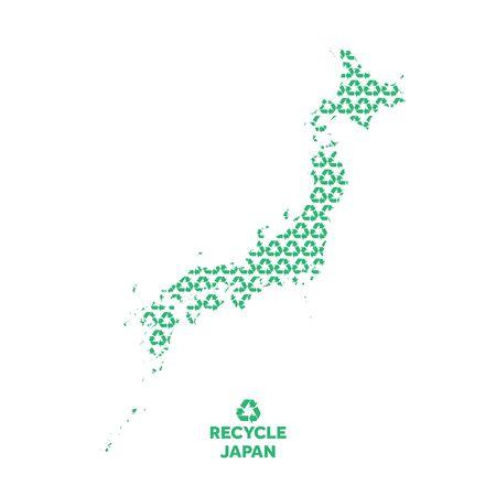 Japan map made from recycling symbol. Environmental concept Illusztráció
