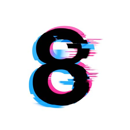 Number 8 distorted neon glitch effect text font. 3D Render