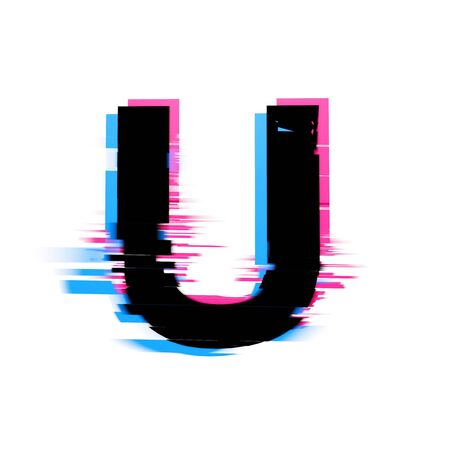 Letter U distorted neon glitch effect text font. 3D Render