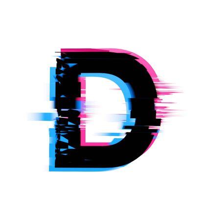 Letra D distorsionada fuente de texto con efecto de falla de neón. Render 3D Foto de archivo