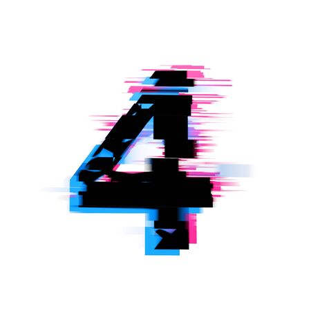 Number 4 distorted neon glitch effect text font. 3D Render