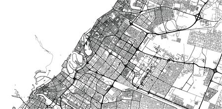 Urban vector city map of Shaejah, United Arab Emirates