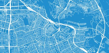 Urban vector city map of Amsterdam, The Netherlands Stock Illustratie