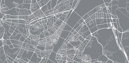 Urban vector city map of Wuhan, China Vetores