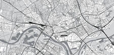 Urban vector city map of Arnhem, The Netherlands