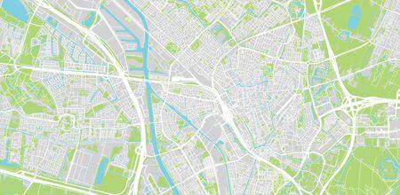 Urban vector city map of Utrecht, The Netherlands Stock Illustratie