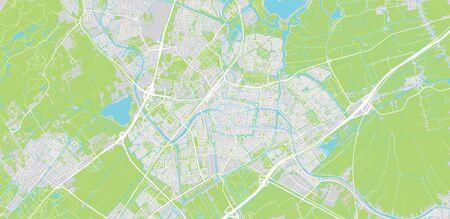 Urban vector city map of Leiden, The Netherlands