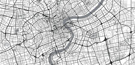 Urban vector city map of Shanghai, China