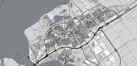 Urban vector city map of Almere, The Netherlands Stock Illustratie