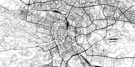 Urban vector city map of Krakow, Poland