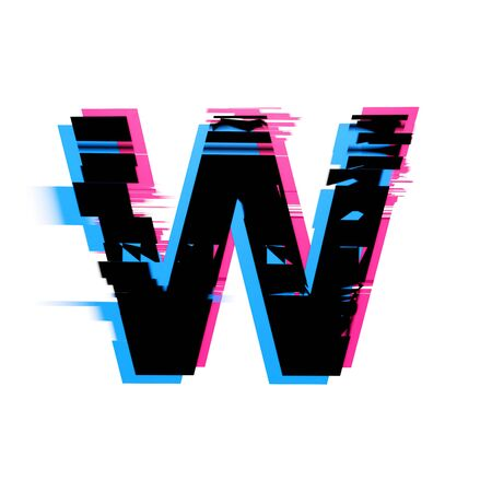 Letter W distorted neon glitch effect text font. 3D Render