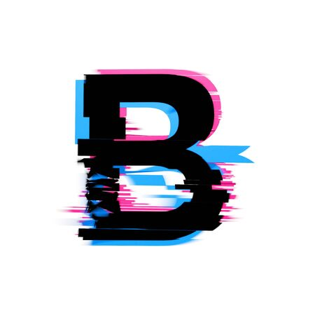 Letter B distorted neon glitch effect text font. 3D Render 免版税图像