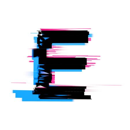 Letter E distorted neon glitch effect text font. 3D Render