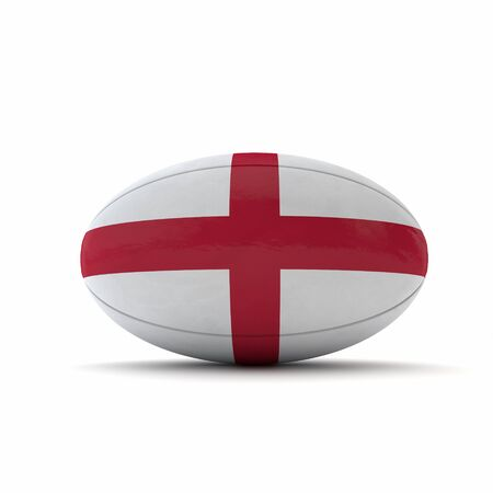 England flag rugby ball on a white background. 3D Rendering Stock Photo