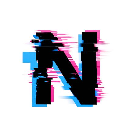 Letter N distorted neon glitch effect text font. 3D Render