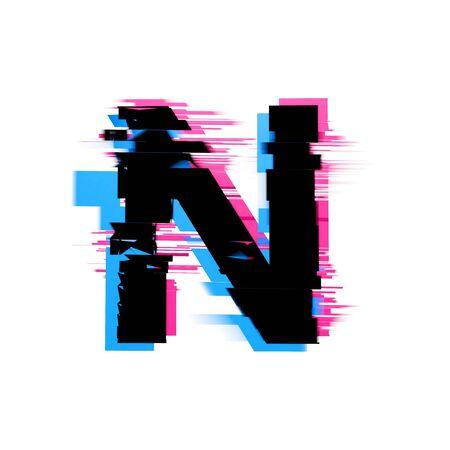 Litera N zniekształcona czcionka tekstu z efektem usterki neonowej. Renderowanie 3D