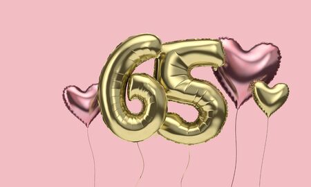 Happy 65th birthday party celebration balloons with hearts. 3D Render 스톡 콘텐츠
