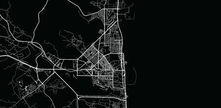 Urban vector city map of Fujairah, United Arab Emirates