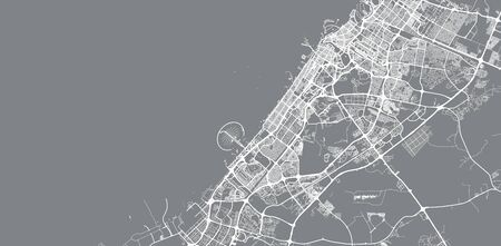 Urban vector city map of Dubai, United Arab Emirates