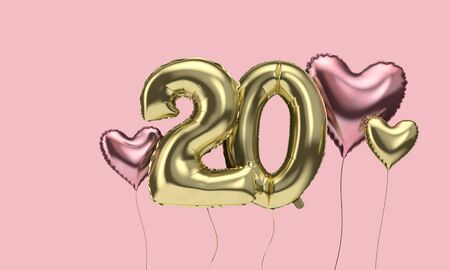 Happy 20th birthday party celebration balloons with hearts. 3D Render Stock Photo