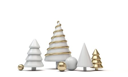 Festive minimal Christmas tree banner with gold and white shapes