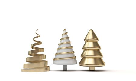 Festive minimal Christmas tree banner with gold and white shapes Stok Fotoğraf
