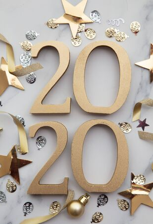 New year 2020 party gold decoration celebration background.