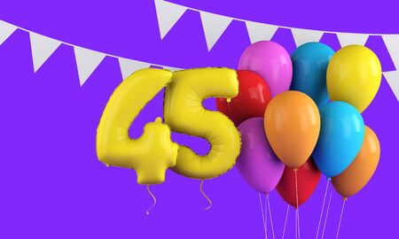 Happy 45th birthday colorful party balloons and bunting. 3D Render