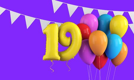 Happy 19th birthday colorful party balloons and bunting. 3D Render Stock Photo
