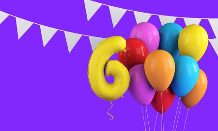 Happy 6th birthday colorful party balloons and bunting. 3D Render