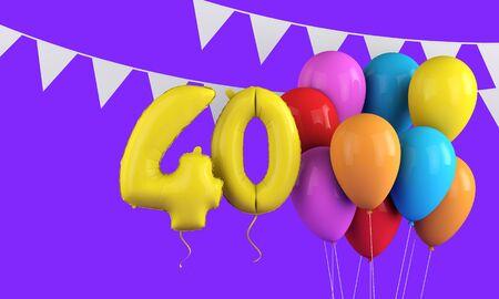 40번째 생일을 축하하는 다채로운 파티 풍선과 깃발. 3D 렌더