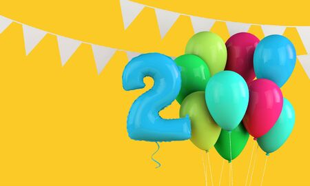 Happy 2nd birthday colorful party balloons and bunting. 3D Render Banco de Imagens