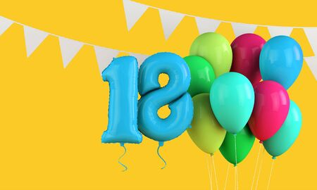 Happy 18th birthday colorful party balloons and bunting. 3D Render