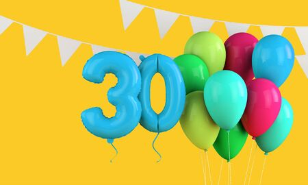 Happy 30th birthday colorful party balloons and bunting. 3D Render