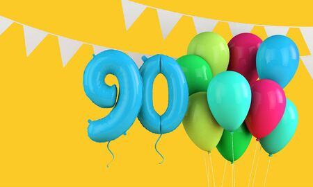 Happy 90th birthday colorful party balloons and bunting. 3D Render