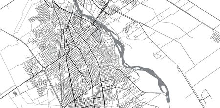 Urban vector city map of Santiago del Estero, Argentina
