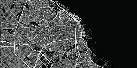 Urban vector city map of Buenos Aires, Argentina Çizim