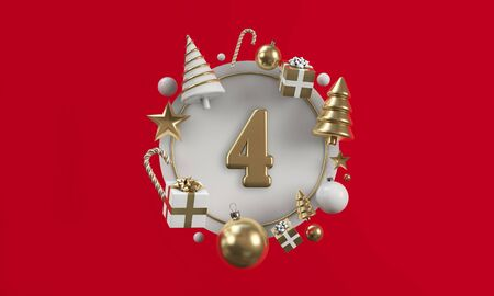 The 12 days of christmas. 4th day festive circle background. 3D Render Reklamní fotografie