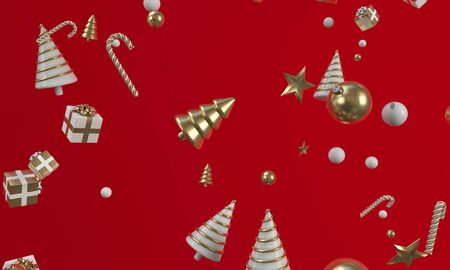 Christmas gold and white trees, gitfs and decorations background. 3D Render