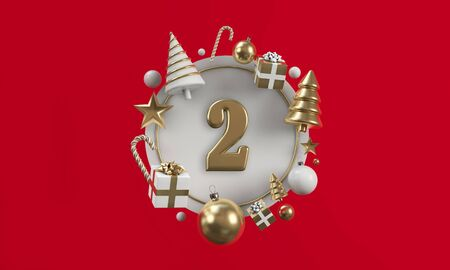 The 12 days of christmas. 2nd day festive circle background. 3D Render Reklamní fotografie