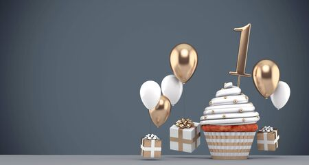 Number 1 gold birthday cupcake with balloons and gifts. 3D Render Reklamní fotografie