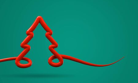 Mminimal Christmas tree background red tree shape on green. 3D Render